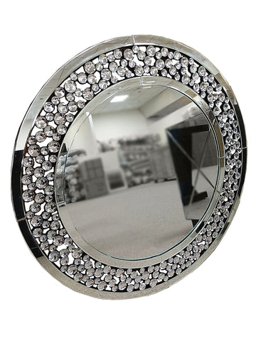 Circular Bubble Crystal Wall Mirror