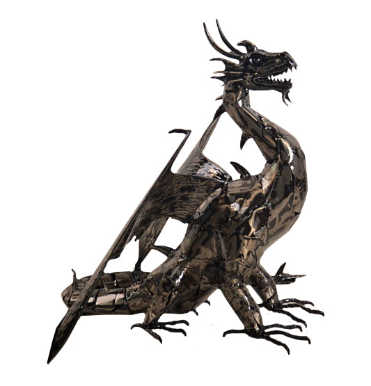Small Hand Made Metal Dragon Sculpture