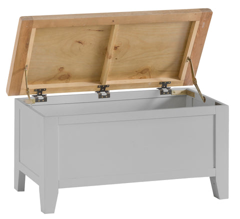 Oak & Hardwood Grey Blanket Box