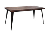 Elm Wood & Steel Dining Table