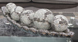 Silver Electroplated Ceramic Long Bubble Dish Tray with Silver Mosaic Balls