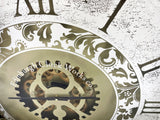 Mirrored Brass Effect Round Mechanical Gear Skeleton Wall Clock