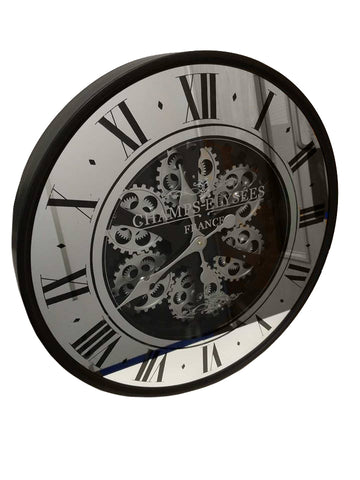 Black & Silver Mirrored Mechanical Skeleton Round Wall Clock