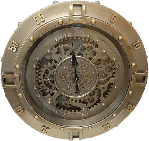 Industrial Look Mechanical Skeleton Round Wall Clock