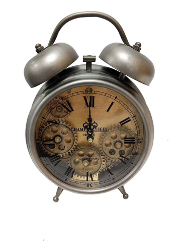 Silver Mechanical Skeleton Faux Alarm Clock