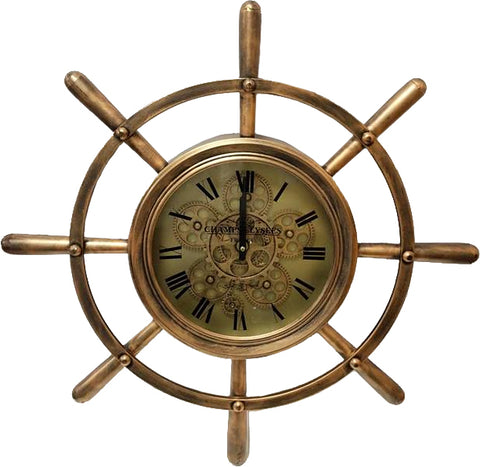 Brass Sailors Wheel Mechanical Skeleton Clock
