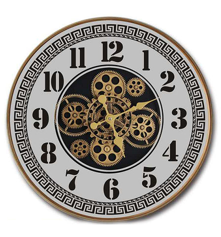 Brass Effect Framed Mirrored Mechanical Gear Clock