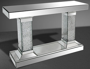 Double Pedestal Crystal Mirrored Console Table
