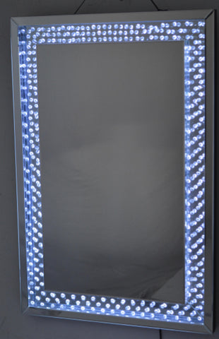 LED Light Up Wall Mirror with Crystal Jewel Diamante Gem Encased Frame