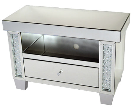 Mirrored Floating Crystal Small TV Cabinet