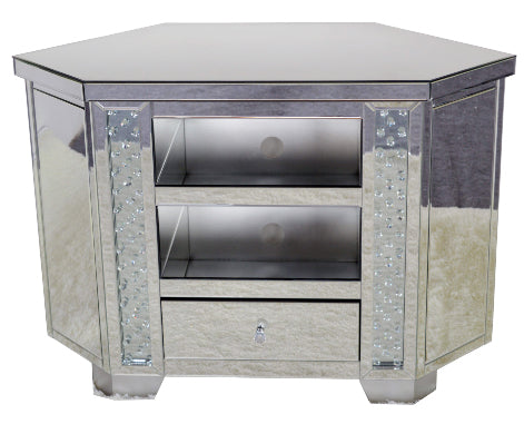 Mirrored Floating Crystal Tall Corner TV Cabinet