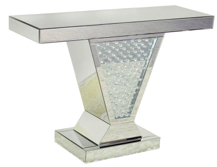 V Shape Floating Crystal Mirrored Console Table