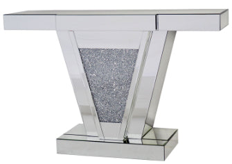 Mirrored Diamante Filled V Shape Console Table