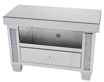 Mirrored Diamante Filled Small TV Cabinet