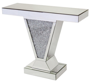 V Shape Diamante Filled Mirrored Console Table