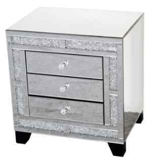 Mirrored Diamante Filled 3 Drawer Chest of Drawers