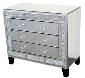 Mirrored Diamante Filled 3 Drawer Wide Chest of Drawers