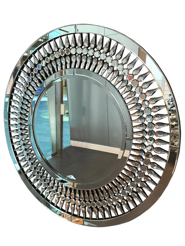 Crystal Teardrop Frame Round Wall Mirror