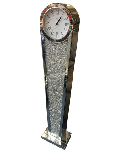 Round Diamante Art Deco Mirrored Long Case Grandmother Clock