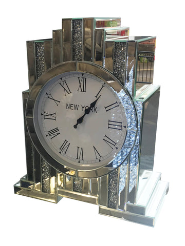 Diamante Art Deco Mirrored Mantle Clock