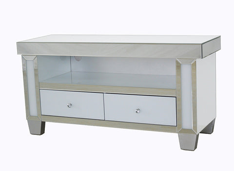 Mirrored & White Glass Large TV Cabinet