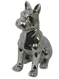 Silver Electroplated Ceramic French Bulldog Ornament