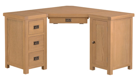 Oak & Hardwood Natural Corner Computer Desk