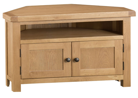 Oak & Hardwood Natural Corner TV Unit