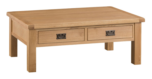 Oak & Hardwood Natural Coffee Table with Drawers