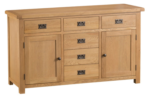 Oak & Hardwood Natural 2 Door 6 Drawer Sideboard
