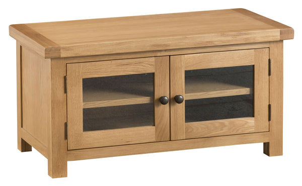 Oak & Hardwood Natural TV Unit with Glass Doors