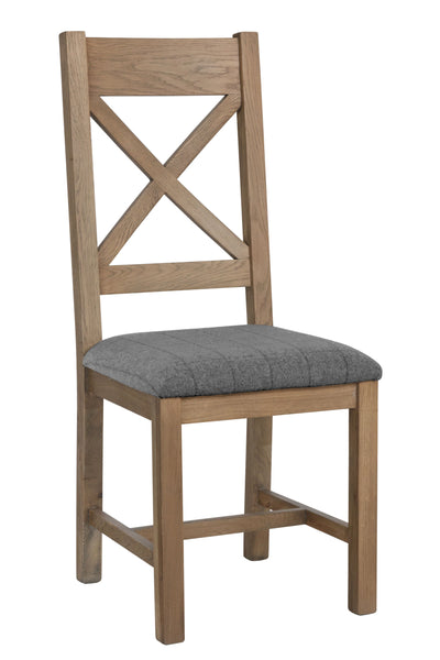 Warm Rustic Oak Effect Cross Back Dining Chair with Grey Padded Seat