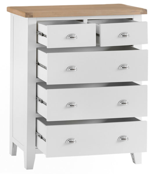 Oak & Hardwood White Jumbo 2 Over 3 Chest of Drawers