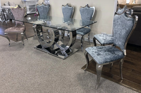 L'Amour Stainless Steel Love Heart Tempered Glass Dining Table & 6 Crushed Velvet Chairs