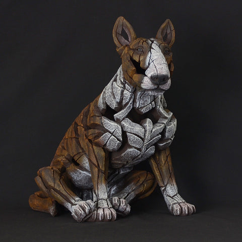 Edge Sculpture Brindle Colour Hand Painted Sculpted Bull Terrier Dog Ornament Figurine