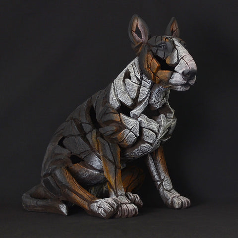 Edge Sculpture Tri Colour Hand Painted Sculpted Bull Terrier Dog Ornament Figurine
