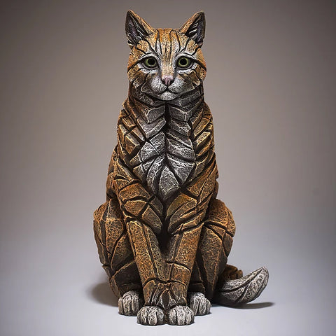 Sitting Cat Figurine Sculptured Ornament (Ginger)