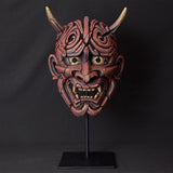 Edge Scupture Japanese Hannya Mask Hand Painted and Sculptured Red Wall Hanging Ornament