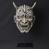 Edge Scupture Japanese Hannya Mask Hand Painted and Sculptured White Wall Hanging Ornament