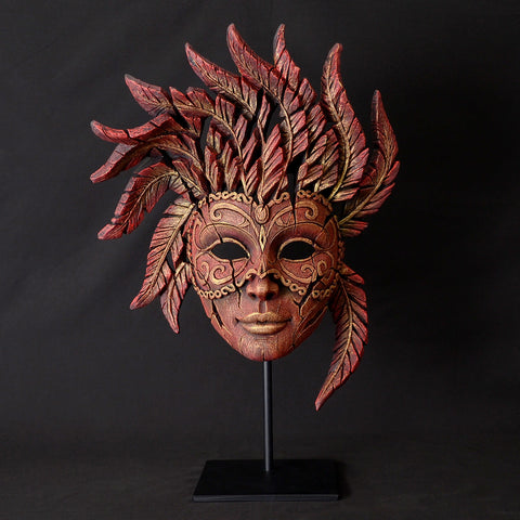 Edge Sculpture Red Venetian Carnival Mask Ornament Hand Painted