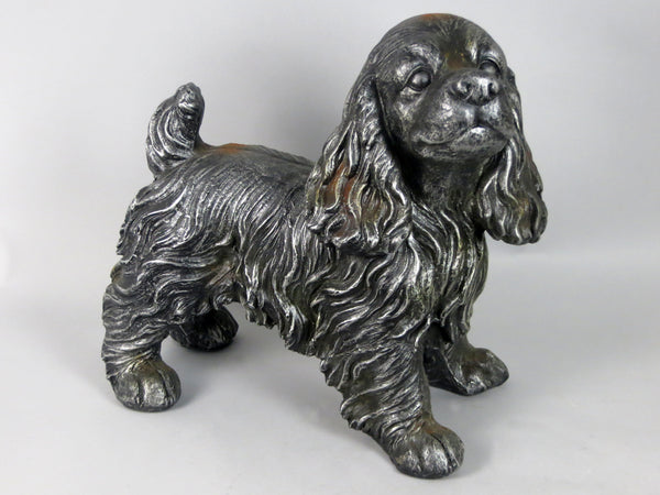 Silver Standing Rust Effect Spaniel Ornament