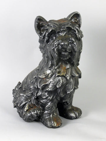 Silver Sitting Scottie Dog Garden Ornament