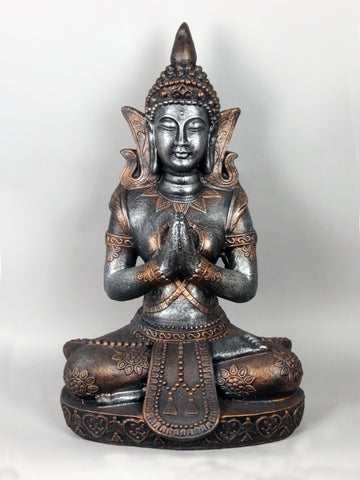 Silver & Copper Effect Lotus Praying Buddha Garden Ornament