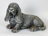 Silver Metal Effect Ceramic Laying Basset Hound Ornament