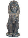 Sitting Brass Effect Lion Garden Ornament