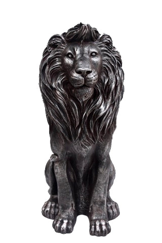 Aged Silver Standing Lion Garden Ornament