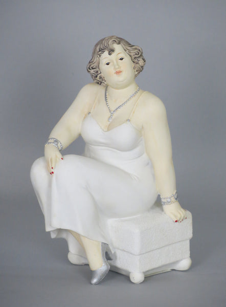 Fiorella Tuttodonna Busty Buxom Curvy Lady Woman Ornament in White Dress sitting on Pouffe