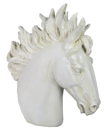 White Roman Horse Bust Ornament