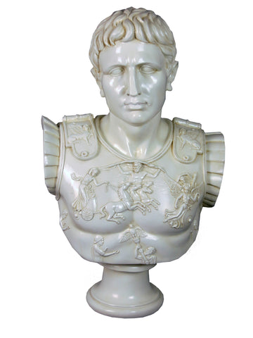 White Roman Bust of Augustus Ornament