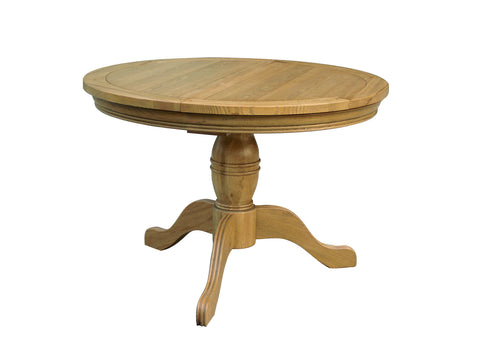 Loire Oak Round Extending Pedestal Dining Table